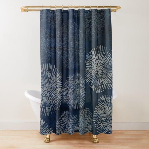 Shibori sea urchin burst dark denim print Shower Curtain