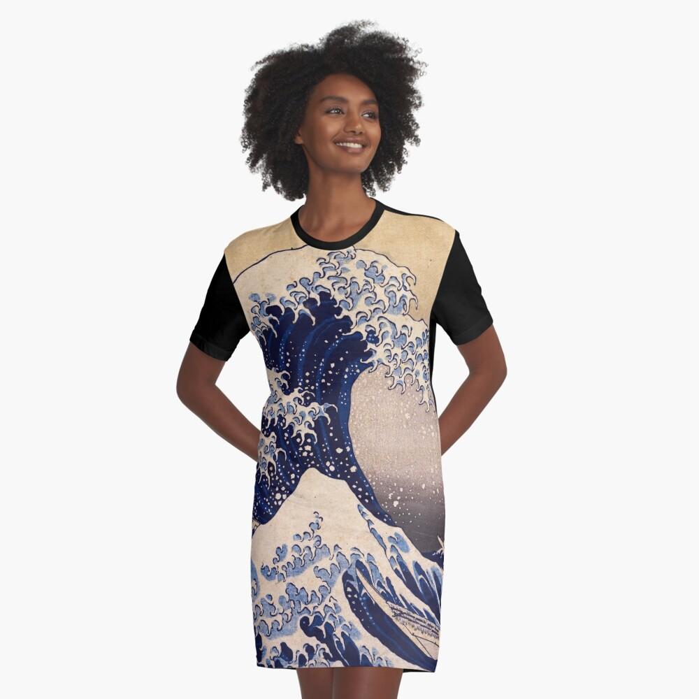 The Great Wave off Kanagawa by Katsushika Hokusai (c 1830-1833) Graphic T-Shirt Dress