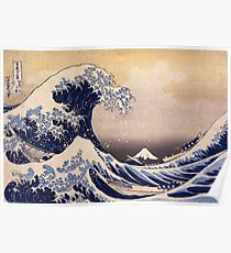 Die große Welle vor Kanagawa von Katsushika Hokusai (um 1830-1833) Poster