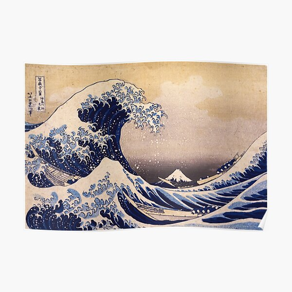 The Great Wave off Kanagawa by Katsushika Hokusai (c 1830-1833) Poster