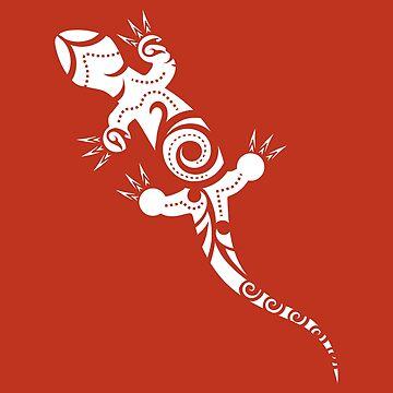 Maori Lizard Tribal Tattoo Mokomoko Gecko Gift by vicoli-shirts