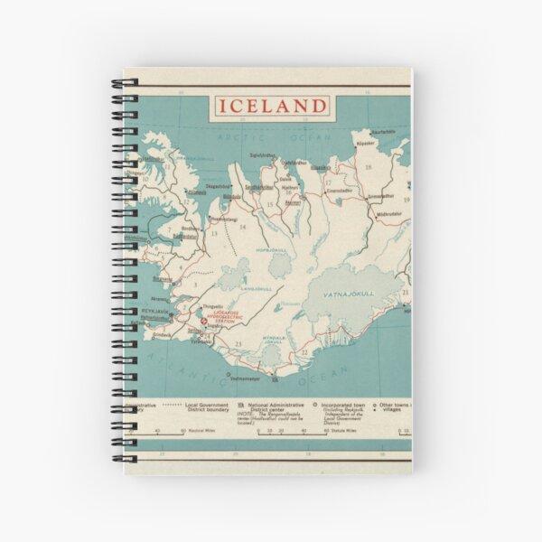Map of Iceland (circa 1958) Spiral Notebook
