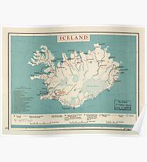 Karte von Island (um 1958) Poster