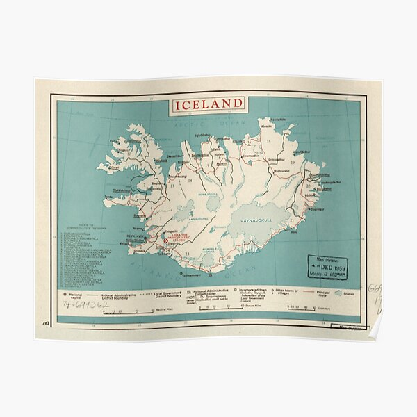 Map of Iceland (circa 1958) Poster