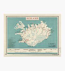 Karte von Island (um 1958) Fotodruck