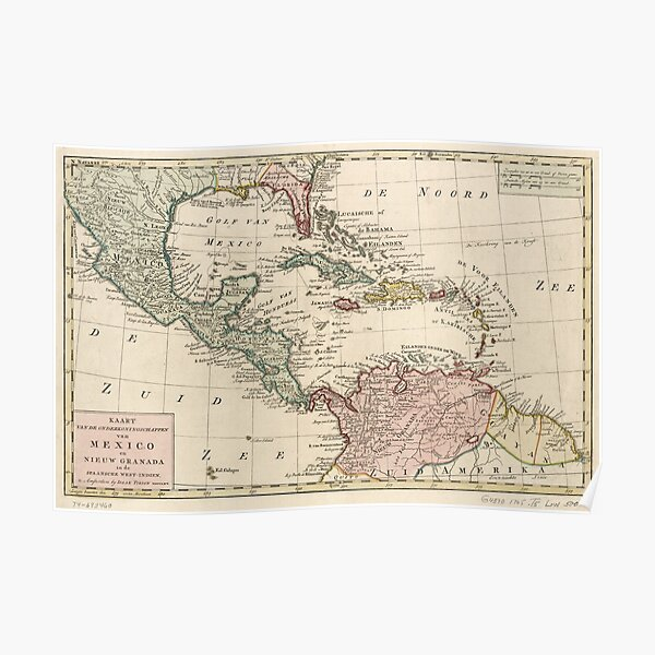 Map of the West Indies Caribbean by Isaak Tirion (1765) Poster