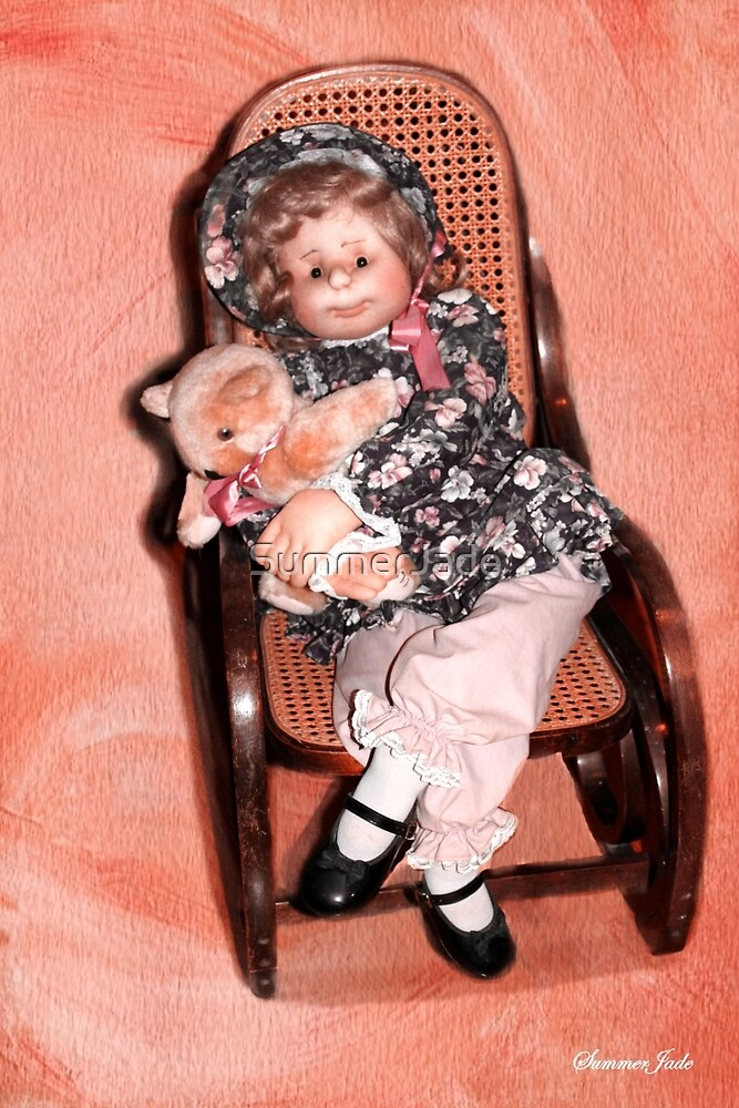 Handmade Doll in an Antique Rocker by SummerJade