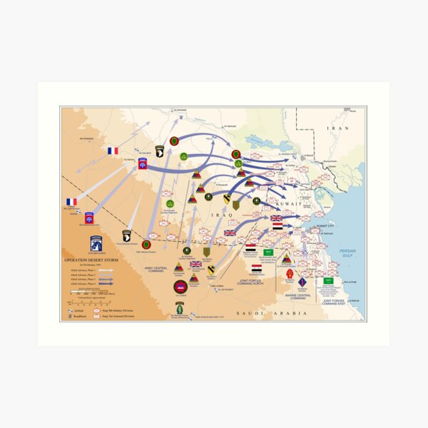 Operation Desert Storm Ground Map (Feb 24-28 1991) Art Print