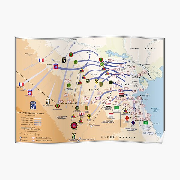 Operation Desert Storm Ground Map (Feb 24-28 1991) Poster