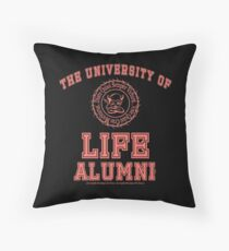 University of Life - Alumni - Living Coral [Pantone 2019] on Black Throw Pillow