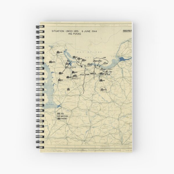 June 6 1944 D-Day World War II Twelfth Army Group Situation Map Spiral Notebook