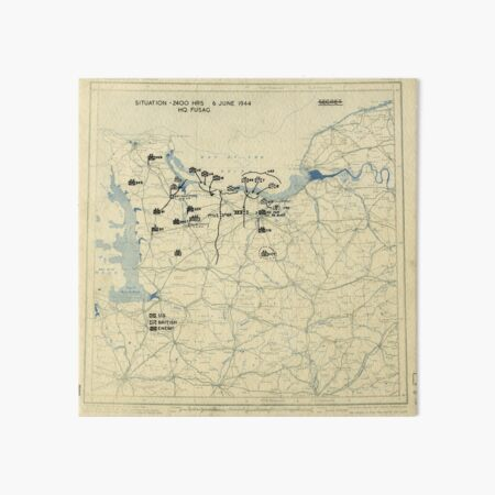June 6 1944 D-Day World War II Twelfth Army Group Situation Map Art Board Print