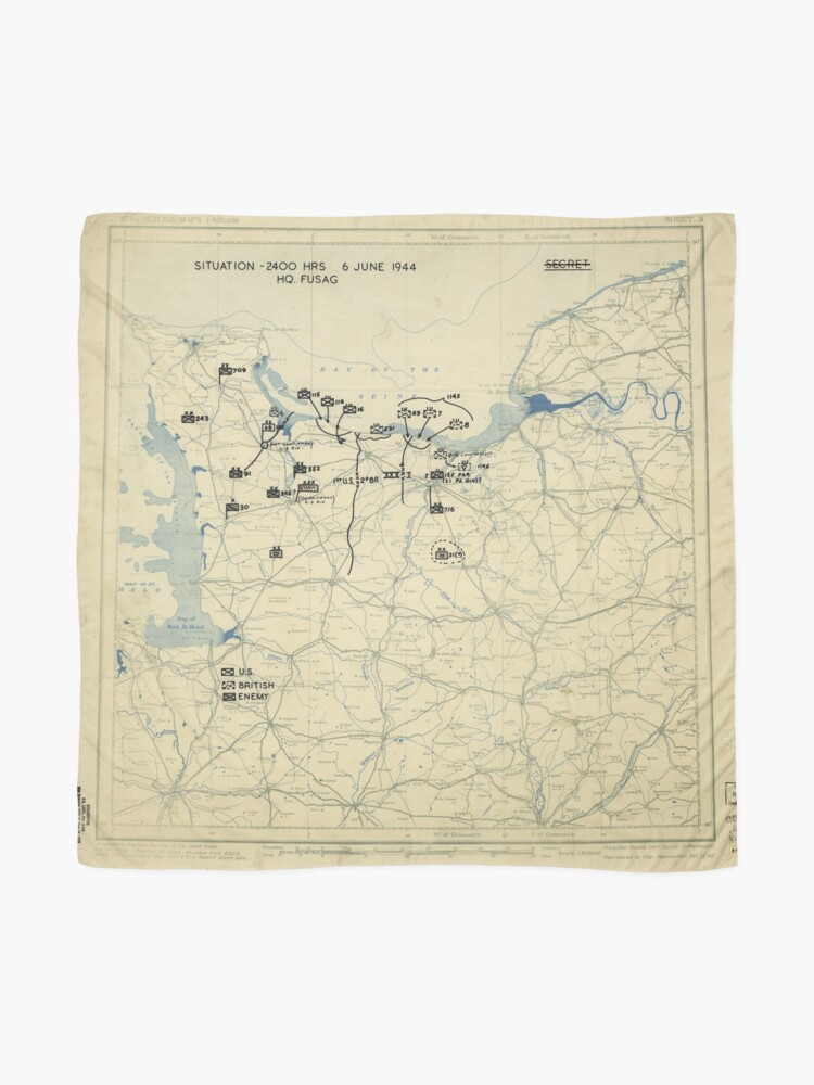 Alternate view of June 6 1944 D-Day World War II Twelfth Army Group Situation Map Scarf