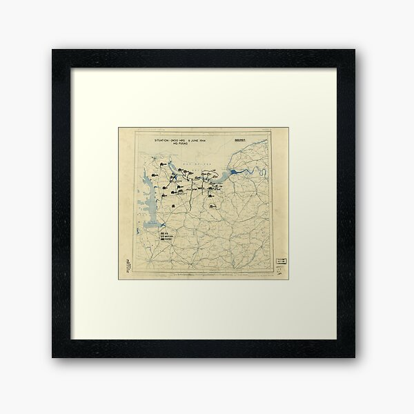 June 6 1944 D-Day World War II Twelfth Army Group Situation Map Framed Art Print