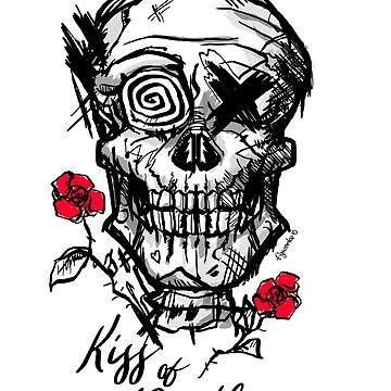 Skull with a kiss of death and red roses by fer3407xzhtvz8