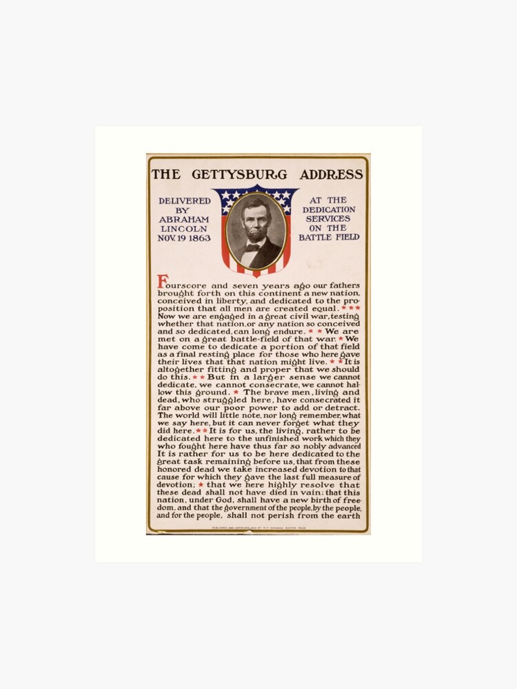 photograph regarding Gettysburg Address Printable identified as The Gettysburg Deal with Furnished as a result of Abraham Lincoln Nov. 19 1863 Artwork Print