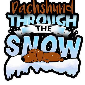Cute Dachshund Through The Snow T-Shirt by mjacobp