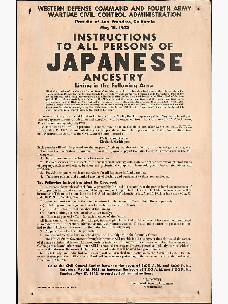 World War II Japanese Internment Broadside (May 15, 1942) by allhistory