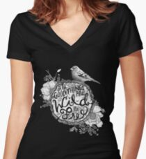 """Thoreau"" Your Life Away Women's Fitted V-Neck T-Shirt"