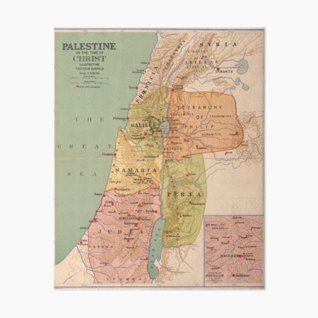 Map of Palestine in the Time of Christ (to 70 A.D.) Art Board Print