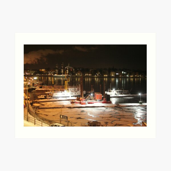 Night harbor (Stockholm, Sweden) Art Print
