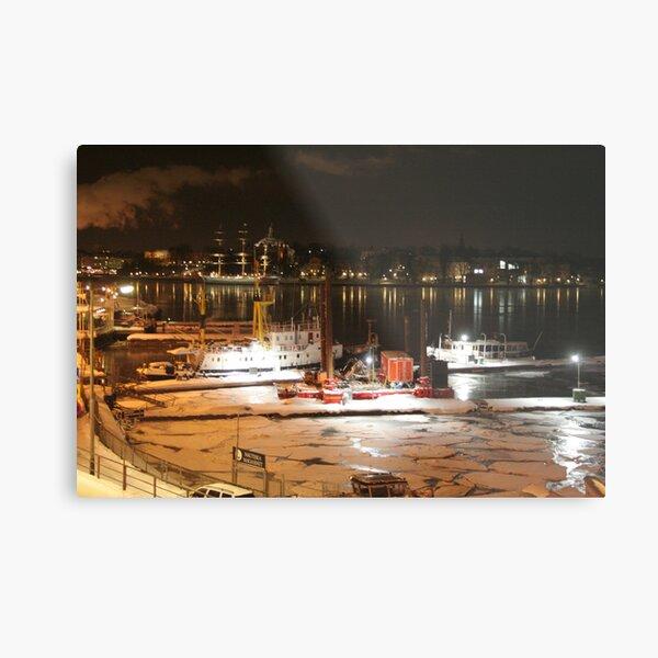 Night harbor (Stockholm, Sweden) Metal Print