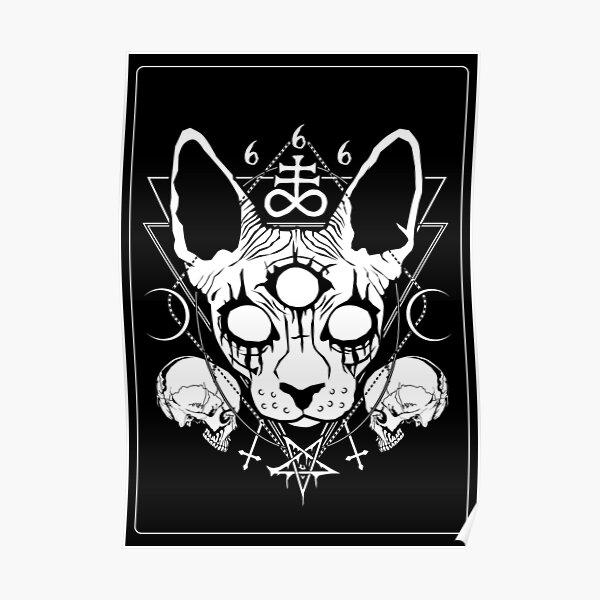 Very satanic black metal sphynx cat Poster