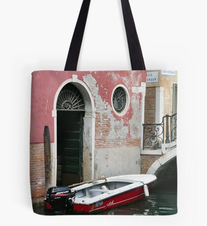 Pink Wall & Red Boat Tote Bag