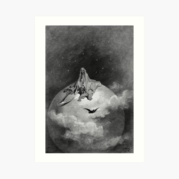 Death and the Moon - The Raven - Gustave Dore Art Print