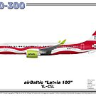 "Airbus A220-300 - airBaltic ""Latvia 100"" by TheArtofFlying"