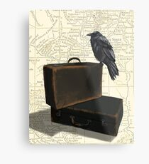 Wander (Raven and Suitcases) Metal Print