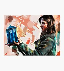 Clara Oswald and The Tiny TARDIS Photographic Print