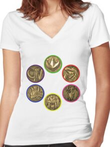 Power Coins Women's Fitted V-Neck T-Shirt
