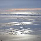 PEACEFUL SILVER AND BLUE BEACH SUNSET CORNWALL by Richard Brookes