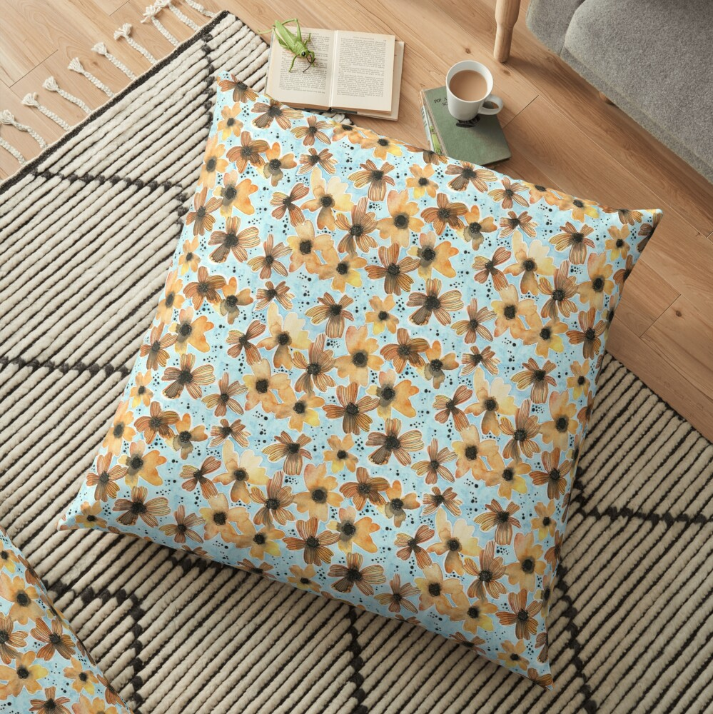 Hand Painted Floral Pattern - There's No Place Like Home Floor Pillow