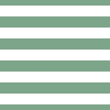 Sage Green & White Horizontal Cabana Tent Stripes by podartist
