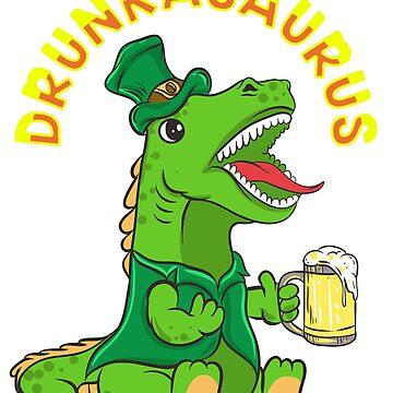 T-Rex Drunkasaurus  St. Patrick's by frittata
