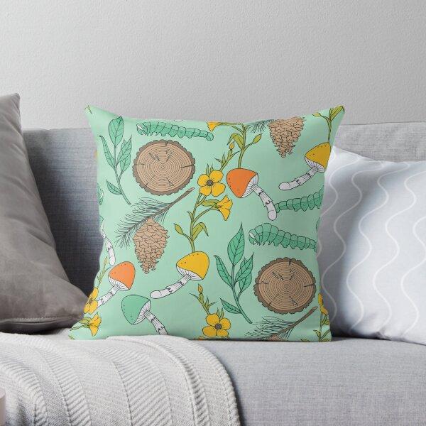 Mint Green Nature Lovers Pattern Throw Pillow