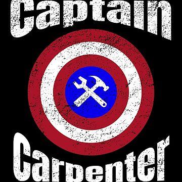 Funny Captain Carpenter Superhero Shield Design by micha75muc