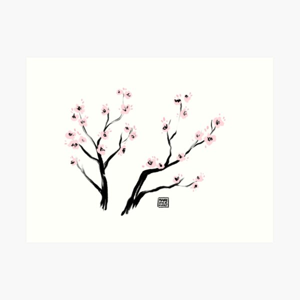 Sumi-E Cherry Blossoms Art Print