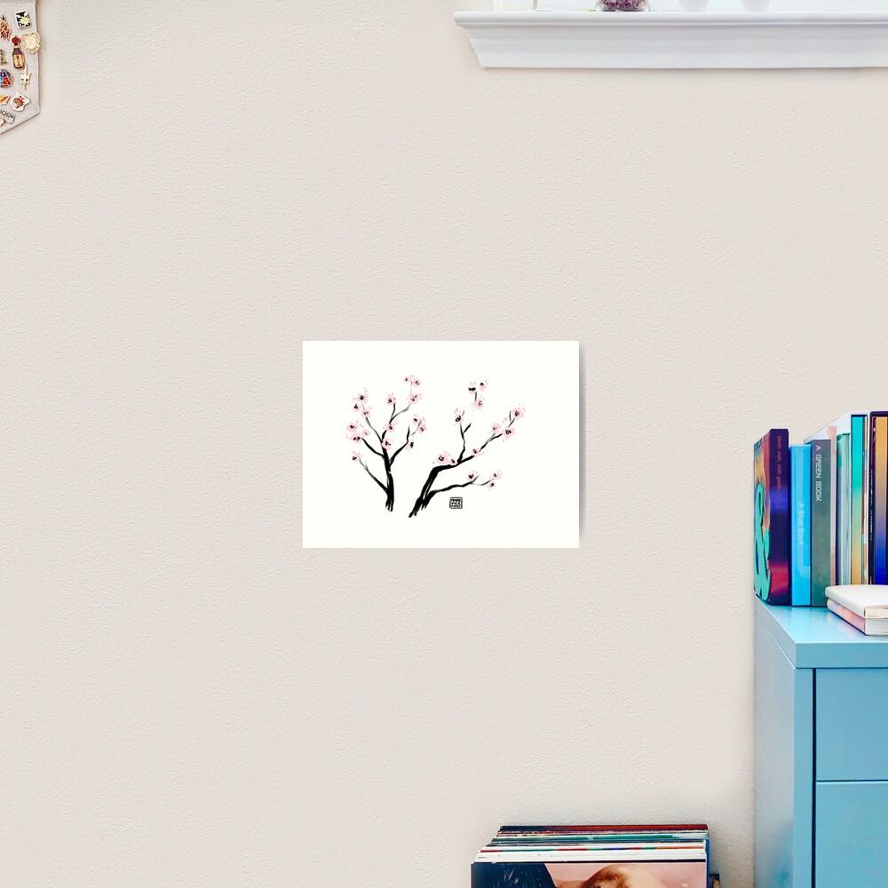 Sumi-E Cherry Blossoms Art Print
