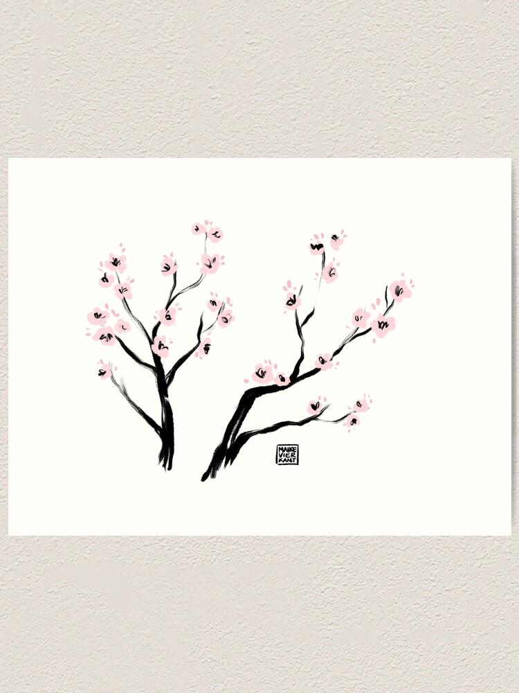 Alternate view of Sumi-E Cherry Blossoms Art Print