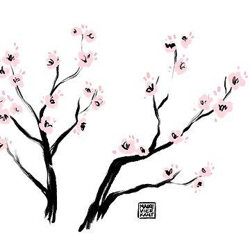 Flores de cerezo de Sumi-E de Vierkant
