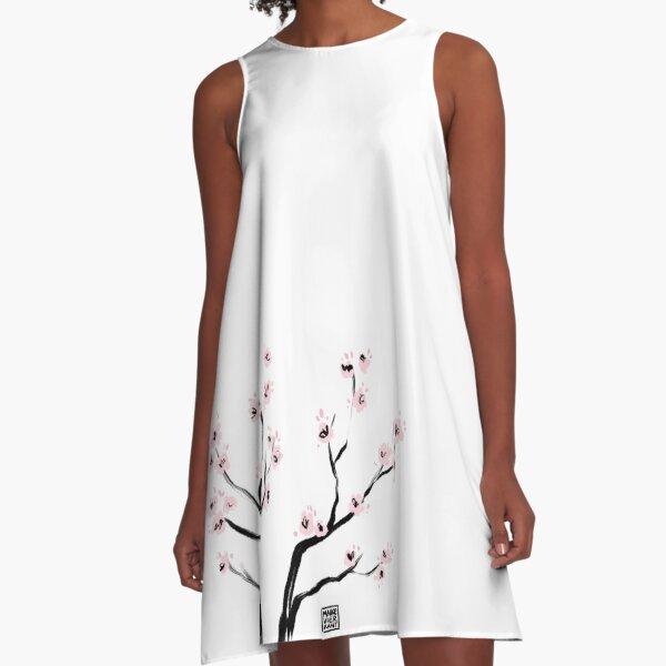 Sumi-E Cherry Blossoms A-Line Dress