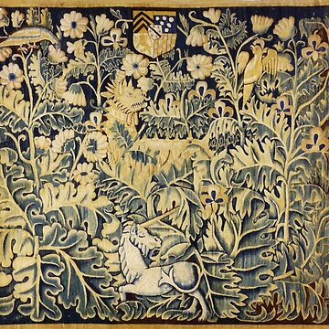 UNICORN, DRAGON ,BIRDS,ANIMALS AMONG CABBAGE LEAVES ANTIQUE GREEN FLORAL TAPESTRY by BulganLumini