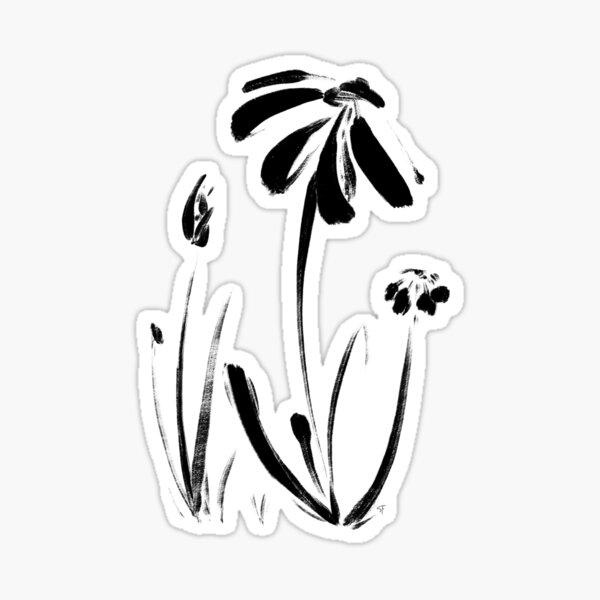 Daisies in Ink Sticker