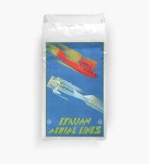 Italian Aerial Lines Vintage Travel Poster Duvet Cover
