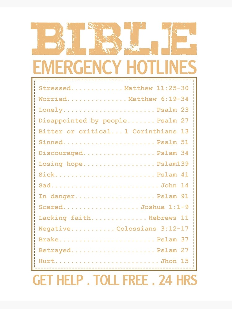 Bible Emergency Numbers Art Board Print By Elevatedbelief Redbubble