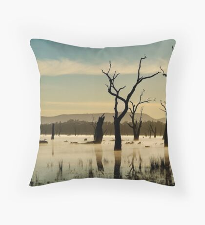 Dead Wood in the Morning Mist,Lake Fyans, Grampians Throw Pillow
