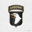 101st Airborne Division - 101st  A B N  Insignia over White Leather by Serge Averbukh